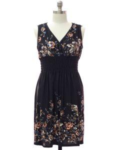Plus Smock Waist Midi Dress - Black