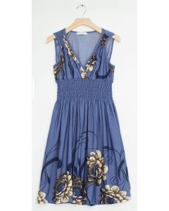 Plus Floral Border Smock Waist Midi - Blue