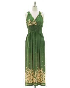 Floral Border Print Maxi Dress - Green