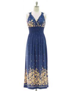 Floral Border Print Maxi Dress - Blue