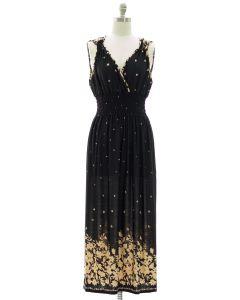 Floral Border Print Maxi Dress - Black