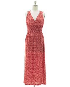 Ikat Smock Waist Maxi Dress - Red