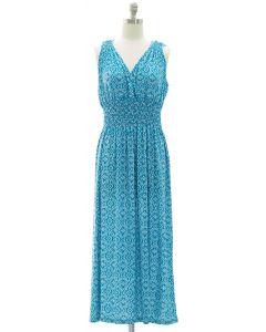 Ikat Smock Waist Maxi Dress - Turquoise