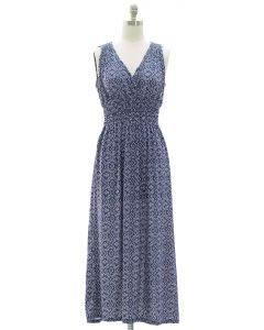 Ikat Smock Waist Maxi Dress - Blue