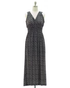 Ikat Smock Waist Maxi Dress - Black