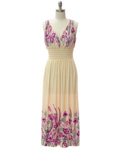 Shoulder Cinch Maxi - Cream Floral