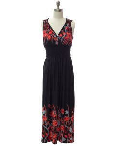 Shoulder Cinch Maxi - Black Floral