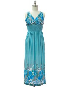 Shoulder Cinch Maxi - Turquoise Floral