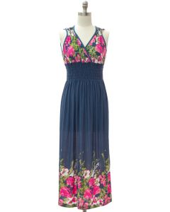 Shoulder Cinch Maxi - Steel Blue Floral