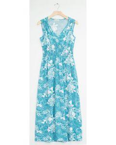 Floral Smock Waist Shoulder Maxi - Turquoise