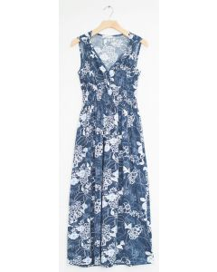 Floral Smock Waist Shoulder Maxi - Steel Blue