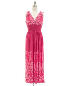 Printed Surplice Maxi Dress - Rose