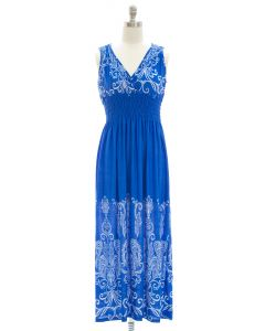 Printed Surplice Maxi Dress - Blue