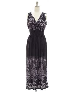 Printed Surplice Maxi Dress - Black