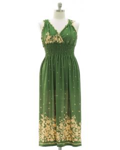 Plus Floral Border Print Maxi Dress - Green