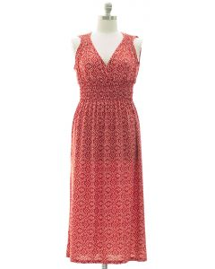 Plus Ikat Smock Waist Maxi Dress - Red