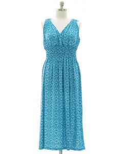 Plus Ikat Smock Waist Maxi Dress - Turquoise