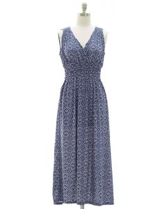 Plus Ikat Smock Waist Maxi Dress - Blue