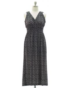 Plus Ikat Smock Waist Maxi Dress - Black