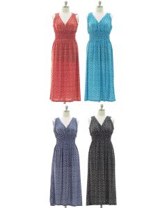 Plus Ikat Smock Waist Maxi Dress - Assorted