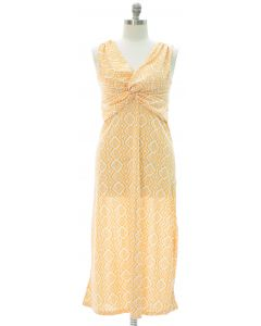 Plus Aztec Knot Front Maxi Dress - Yellow