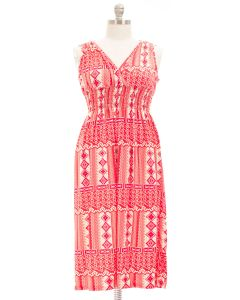 Plus. Maxi Smocked Dress - Red