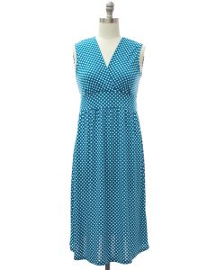 Polka Dot Tie Dress - Teal