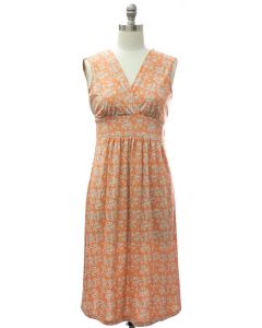 Floral Tie Back Dress - Orange