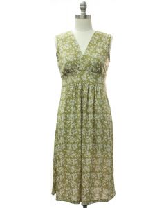 Floral Tie Back Dress - Olive