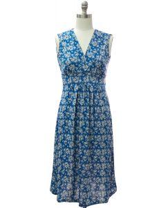 Floral Tie Back Dress - Blue