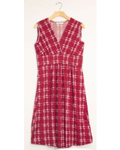 Messy Checker Tie Dress - Wine