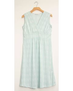 Messy Checker Tie Dress - Ice Blue