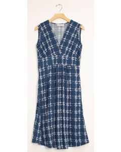 Messy Checker Tie Dress - Navy