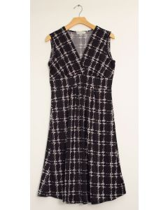 Messy Checker Tie Dress - Black