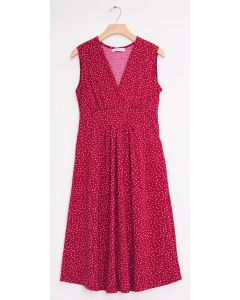 Ditsy Dot Tie Back Midi Dress - Plum