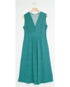 Ditsy Dot Tie Back Midi Dress - Teal