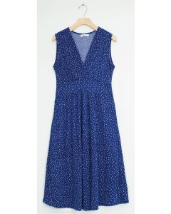 Ditsy Dot Tie Back Midi Dress - Blue
