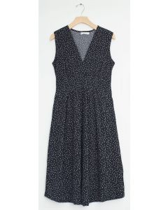 Ditsy Dot Tie Back Midi Dress - Black