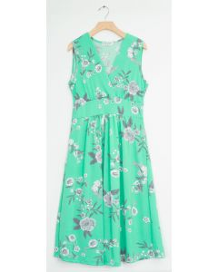 Ditsy Floral Tie Back Midi Dress - Turquoise