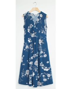 Ditsy Floral Tie Back Midi Dress - Steel Blue