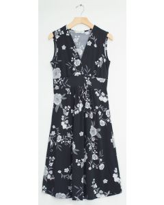 Ditsy Floral Tie Back Midi Dress - Black