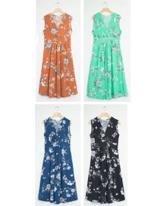 Ditsy Floral Tie Back Midi Dress - Assorted