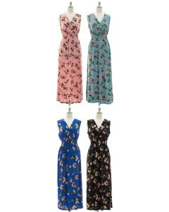 Floral Smock Waist Maxi Dress - Assorted