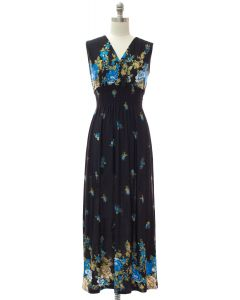 Plus Smock Maxi Dress - Navy Border