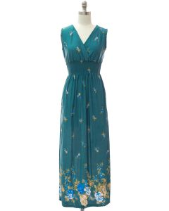 Plus Smock Maxi Dress - Teal Border