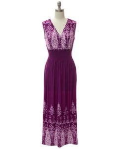 Smock Maxi Dress - Purple