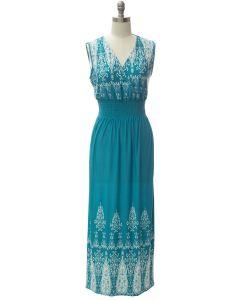 Smock Maxi Dress - Turquoise
