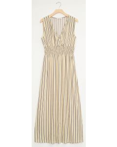 Stripe Smocked Maxi - Cream