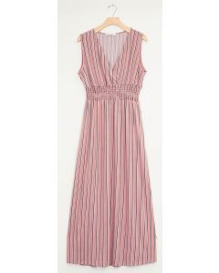 Stripe Smocked Maxi - Dusty Rose