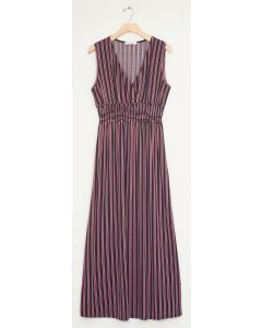 Stripe Smocked Maxi - Black Multi